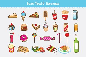 Sweet Food & Beverages Vector Set