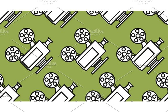 Movie Seamless Pattern With Cinema Camera Projector On Green Background