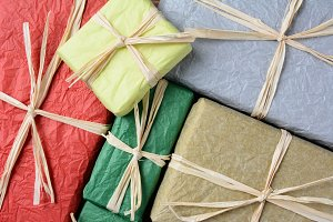 Tissue Wrapped Gifts Closeup