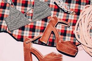High heel. Fashionable costume