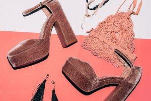 uede shoes. High heel. Fashion j