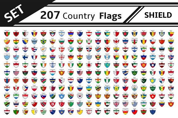Set 207 Countries Flags Shield Shape