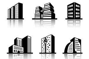 black and white building icons