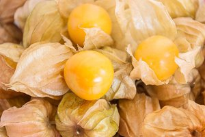 cape gooseberry on wooden table