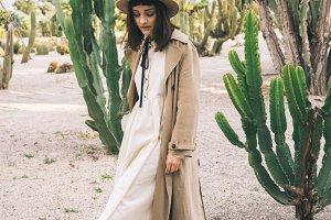 Girl in cacti park