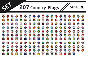 set 207 countries flags sphere shape
