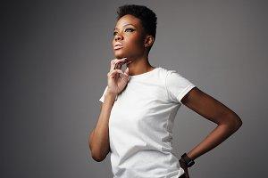 black woman with a short haircut