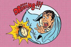 Man wakes up alarm clock