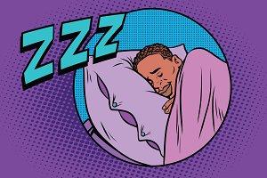 Retro man sleeping in bed
