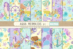 AQUA MERMAIDS digital papers