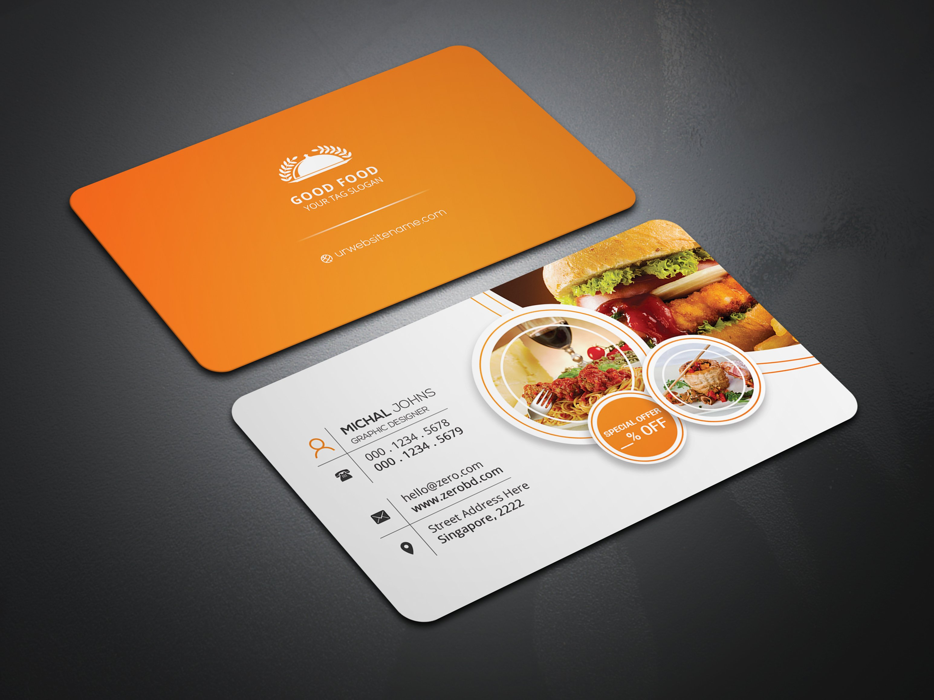 restaurant business card business card templates creative market. Black Bedroom Furniture Sets. Home Design Ideas