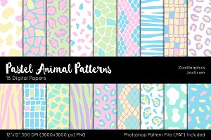 Pastel Animal Digital Papers
