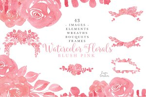 Blush Pink Monochrome Watercolors