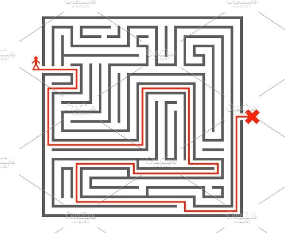 Man pass way intricacy labyrinth ~ Icons ~ Creative Market
