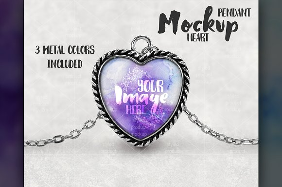 Heart Shaped Pendant Mockup