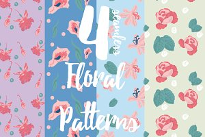 4 Tileable Flower Patterns