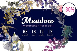 Meadow watercolor floral set