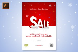 Mall Store Sale Poster 3D Logo
