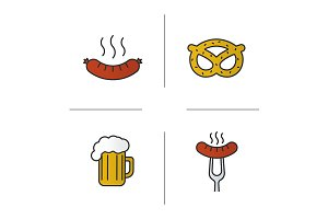 Beer snacks. 4 icons. Vector