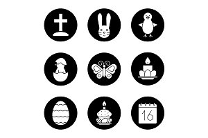 Easter. 9 icons. Vector