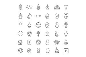 Easter. 36 icons. Vector