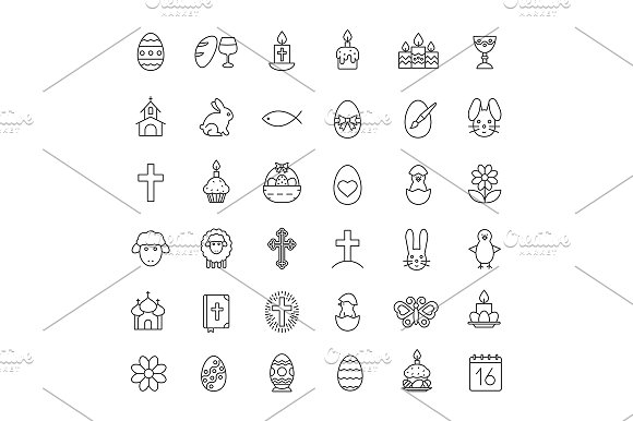 Easter 36 Icons Vector
