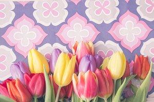 tulips on vintage background