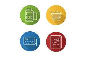 Supermarket. 4 icons. Vector