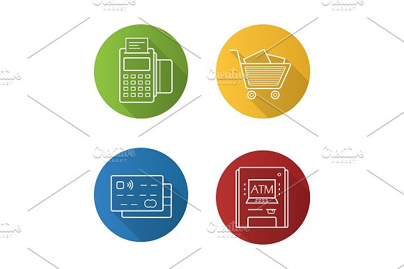 Supermarket 4 Icons Vector