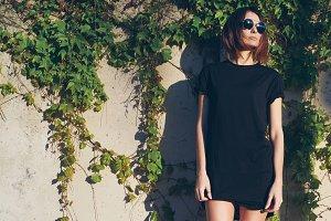 Young girl wearing a black t-shirt