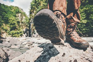 Feet trekking boots hiking Traveler