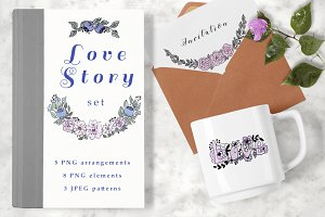 LOVE STORY watercolor clipart set