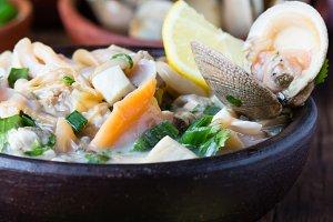 Seafood shellfish ceviche mariscal, typical dish Peru Latin America