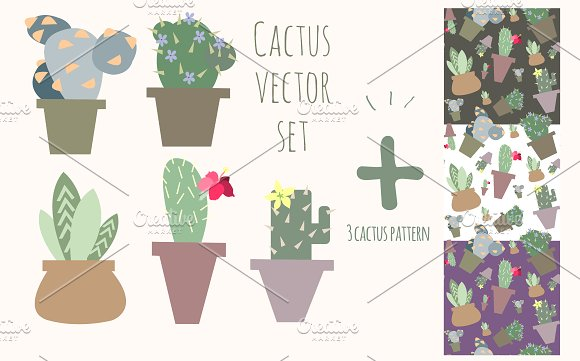Cute Cactus Vector Set And Patterns