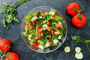Vegetable salad and ingredients