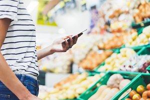 Woman shopping healthy food