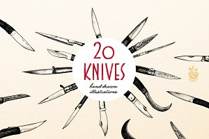 20 Knives - Hand drawn Illustrations