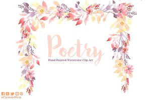 Poetry flower watercolor clip art