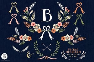 Floral wreaths laurels monogram