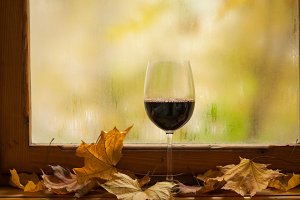 Red wine in autumn