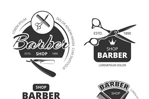 Retro barber shop vector logo