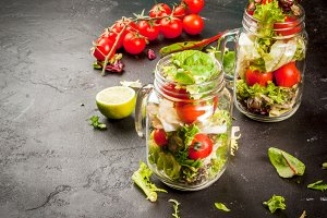 Spring salad in jars