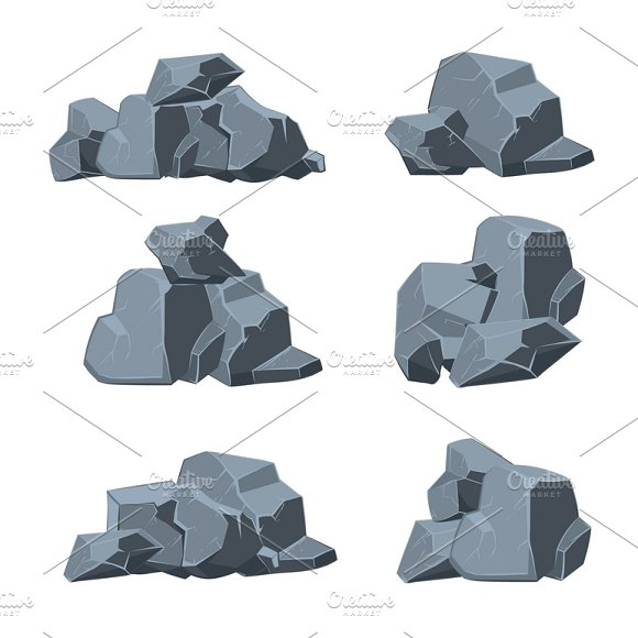 Cartoon Stones Vector Set