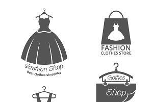 Fashion shop vector labels set