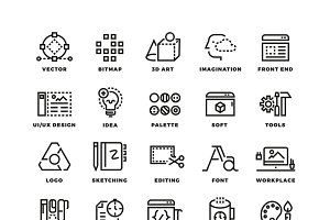 Creative process and tools icons set