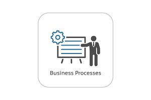 Business Processes Icon. Flat Design.