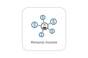 Personal Income Icon. Business Concept. Flat Design.