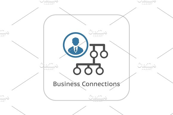 Business Connections Icon Flat Design