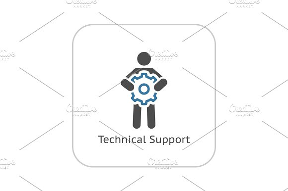 Technical Support Icon Flat Design