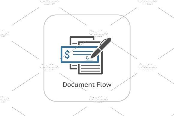 Document Flow Icon Flat Design